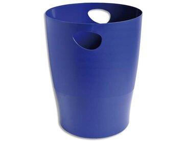 Corbeille à papier 15L en polystyrène, Bleu - Diamètre 26 cm, hauteur 33,5cm - Lot de 9