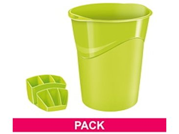 Pack corbeille à papier + multipots Cep Gloss vert