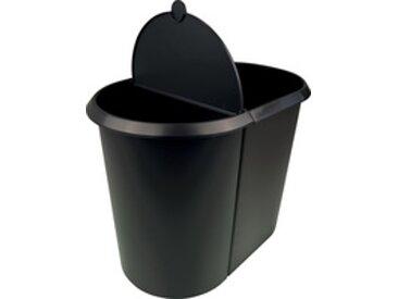 Corbeille à papier 'the double', ovale, PE, noir