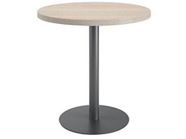 Table de réunion ronde chêne gris Ø 80 cm - piétement anthracite - Arch