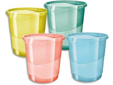 Corbeille à papier 14L COLOUR'ICE Coloris Assortis. Dimensions (lxhxp) : 28,5x30,5x32,5cm - Lot de 12