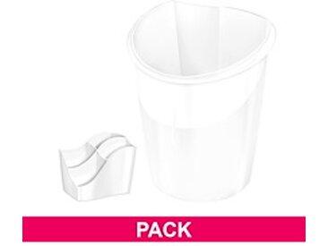 Pack corbeille à papier + multipots Cep Ellypse blanc