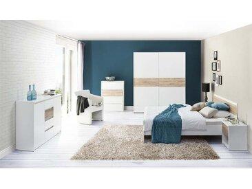 Commode minimaliste couleur blanc et chêne - Sigma