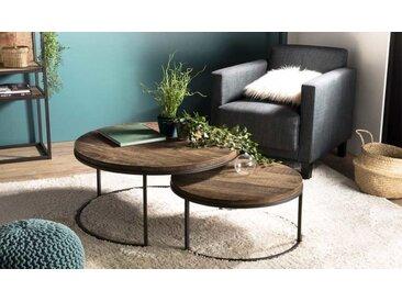 Set de 2 tables basses gigognes en bois recyclé - Thekku
