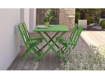 Salon de jardin pliant 4 places en aluminium - Marius