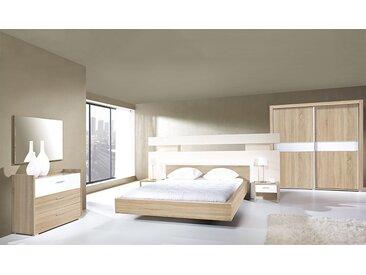 Chambre complète adulte chêne et blanche 160x200 - Miya
