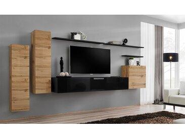 Meuble TV mural minimaliste coloris chêne et noir - Palerme I