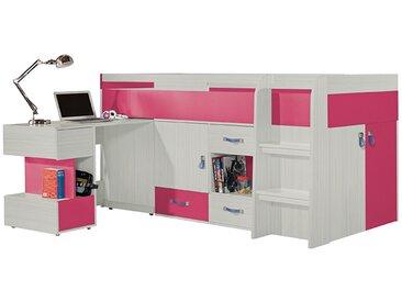 Lit enfant combiné rose avec bureau amovible - Vera