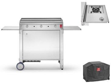 Plancha gaz chariot fermé + housse protection - Chef 80
