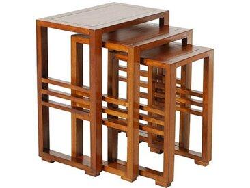 SET DE 3 TABLES GIGOGNES EN MINDI MASSIF - MILO