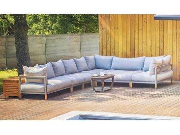 Grand canapé d'angle de jardin gris 8 places - Havane