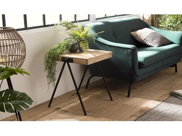 Table d'appoint carrée manguier et métal - Berlioz