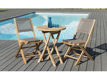 Ensemble table ronde pliante 60cm + 2 chaises teck - Bornéo