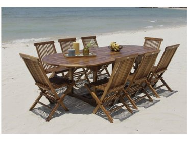 Salon de jardin extensible en teck huilé 8 chaises - Teku