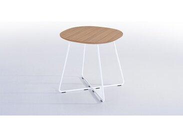 TABLE D'APPOINT EN BOIS DE CHÊNE & PIEDS MÉTAL BLANC - BASIL
