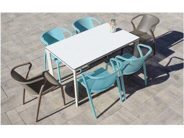 Ensemble table blanche Meet et 6 fauteuils taupe et aquamarine Fado