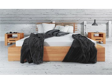 Lit en bois massif avec tête de lit design - Kuby 1