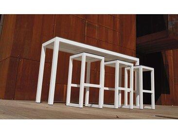 BAR DE JARDIN DESIGN BLANC TABLE + 3 TABOURETS - LEUVEN