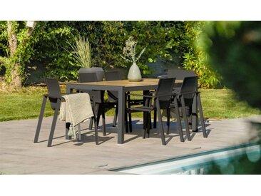 Salon jardin anthracite plateau céramique 6 fauteuils - Helsinki