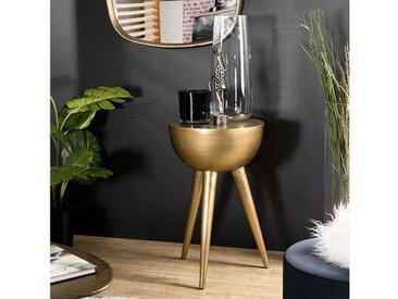 Table décorative ronde dorée - Goldy