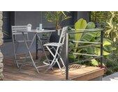 Bar de jardin pliant 2 chaises hautes en aluminium - Marius