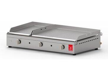 Plancha gaz 2 plaques cuisson lisse et rainurée - Chef 80