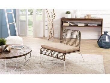 Fauteuil lounge rotin kubu et métal blanc - Palawan
