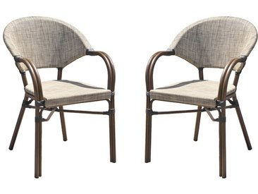 Lot de fauteuils de jardin alu marron et textilène lin - Ushuaia