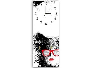 Tableau horloge murale et patère FEMME LUNETTES