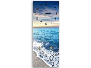 Tableau horloge murale et patère BORD DE LA MER 25 x 65