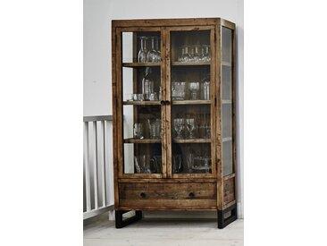 Vaisselier bibliothèque vitrine industrielle en bois recyclé et métal 2 portes 1 tiroir 90x170cm BRISBANE