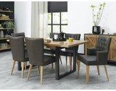 Table à manger extensible plateau en chêne décor marqueterie 190 - 240 cm style contemporain AUSTIN