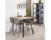 Table haute mange-debout bois clair et métal style contemporain 140x70cm HELSINKI