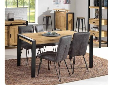 Table à manger style industriel extensible pin massif et métal 160cm LOUNDGE
