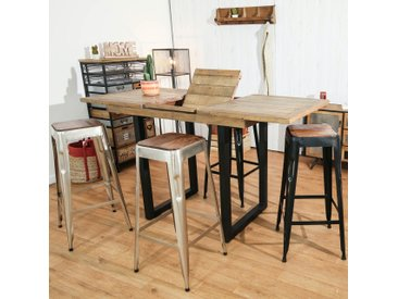 Table haute extensible bois recyclé et métal 120/160cm style industriel BRISBANE