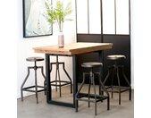 Table haute extensible 120/160 cm en bois recyclé BRISBANE