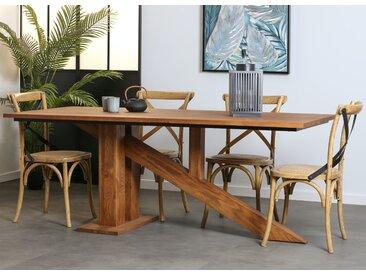 Table à manger rectangulaire style contemporain chêne massif et pieds obliques 200cm OKA