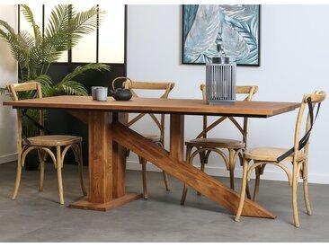 Table à manger moderne en bois massif pied oblique 200 cm OKA