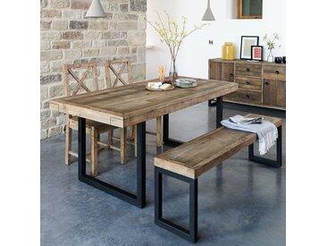 Table à manger industrielle extensible en bois recyclé 140/180cm BRISBANE