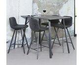 Table haute mange-debout contemporain effet béton pieds métal 140cm HELSINKI