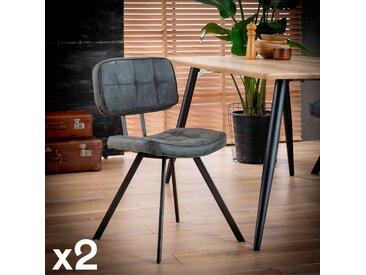 Chaise moderne capitonnée noire avec dossier et pieds étoile TRIBECA (lot de 2)