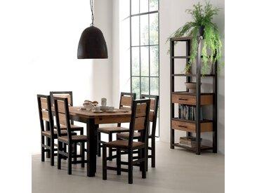 Table à manger extensible style industriel chêne et métal 180cm FERSCOTT
