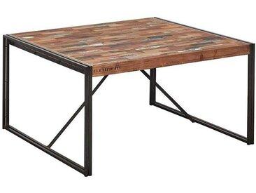 Table à manger carrée industrielle bois recyclé 140cm CARAVELLE
