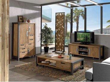 Vaisselier buffet haut industriel en bois de teck et métal 3 portes 6 tiroirs 90x148cm CANADA