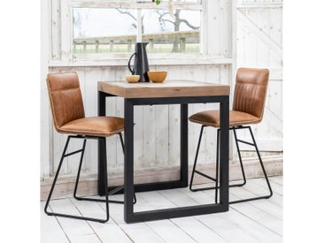 Table haute mange-debout carré bois recyclé et métal style industriel 80x80cm BRISBANE