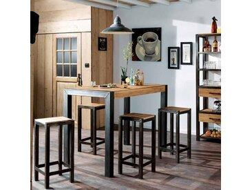 Table haute mange-debout bois de chêne massif et métal style industriel 120cm FERSCOTT