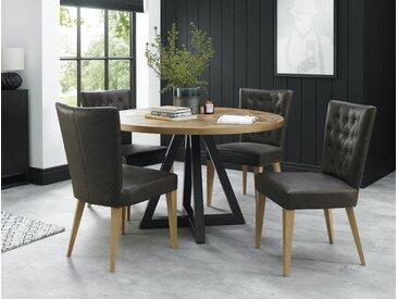 Table à manger ronde en bois de chêne plateau décor marqueterie design contemporain 125 cm AUSTIN