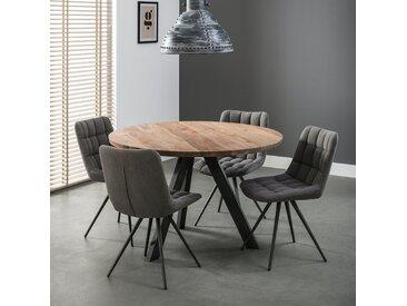 Table de salle à manger ronde en bois et métal style contemporain 120cm MELBOURNE