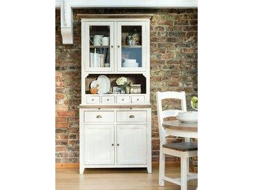 Vaisselier module haut en bois recyclé blanc et naturel style maison de campagne 103x122cm BRISTOL