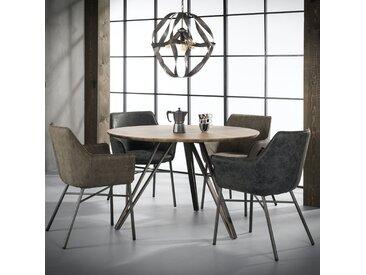 Table à manger ronde contemporaine bois et métal 120cm HELSINKI